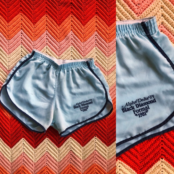 1981 Sorority  ringer shorts / 80s gym shorts