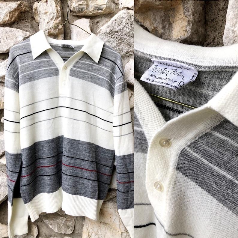70s Mister Man Soft Striped Sweater Mens Lg