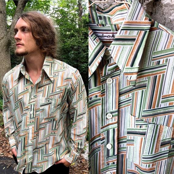 70s geometric dagger collar men's shirt