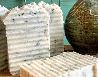 Fir Balsam, Clary Sage, French Green Clay and Shea Butter Body and Hand Washing Bar, All Natural, Moisturizing Skin Care, 6oz Soap Bar