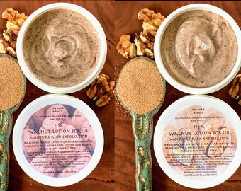 His and Her Walnut Lotion Scrub, Complimenting Combinations of Scents for the Couple! 4oz, Rich Moisturizing Exfoliation