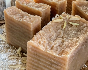 Almond and Oat Body Bar with the addition of Moroccan Red Clay, Sweet, Mild Exfoliation, Moisturizing Skin Care, 5oz Soap Bar