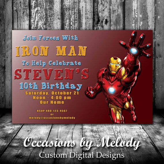 Iron Man Avengers Birthday Party Invitations PRINTED Or