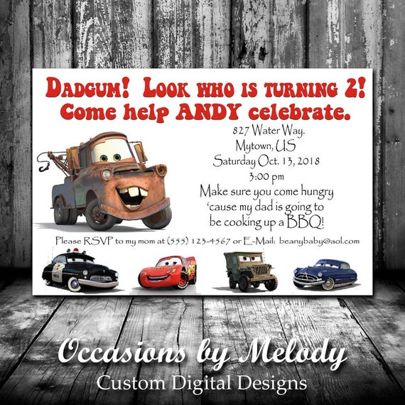 CARS Movie Birthday Invitations Lightning McQueen