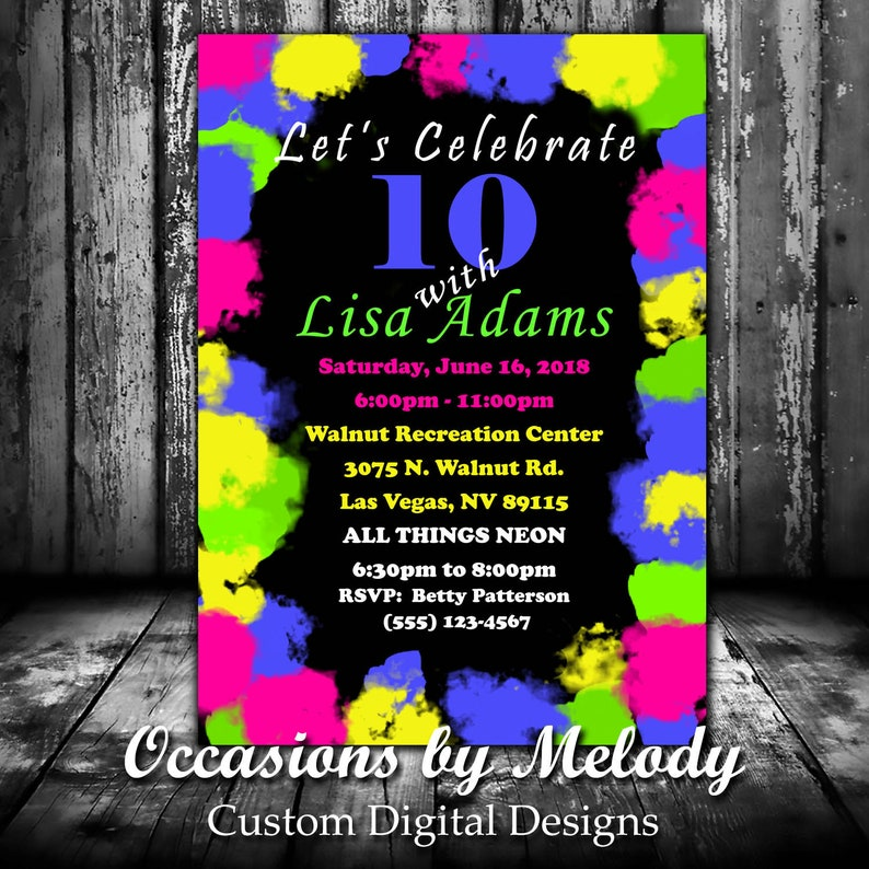 Glow In The Dark NEON Birthday Party Invitations Neon New Years Invitation Invites PRINTED Or PRINTABLE