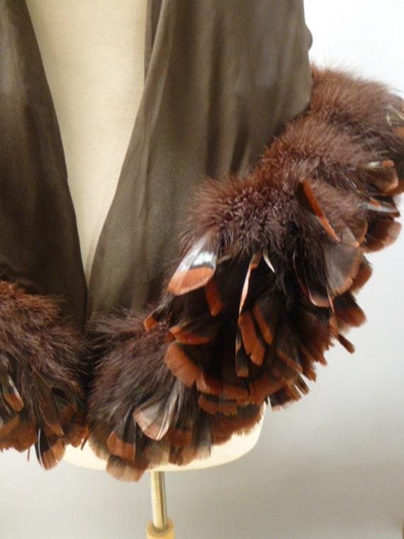vtg 70's chiffon feather shawl boa brown feather e
