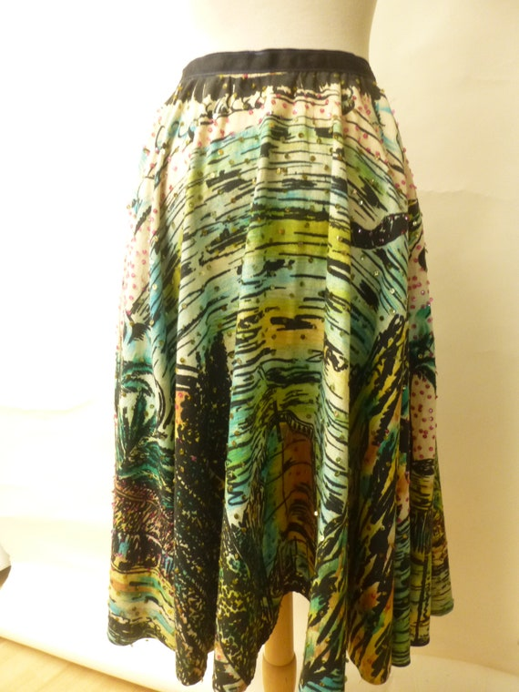 vintage 50s hand painted circle skirt sequins apac