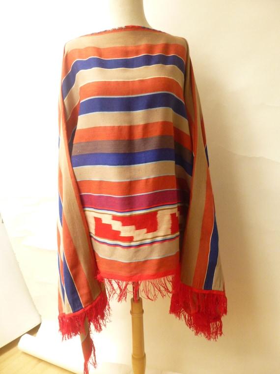 vtg fine wool serape pocho hand woven multi color