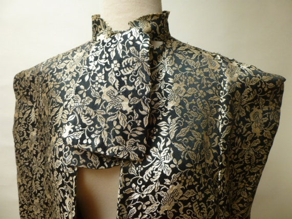40s cape metallic silver brocade japanese asian ge