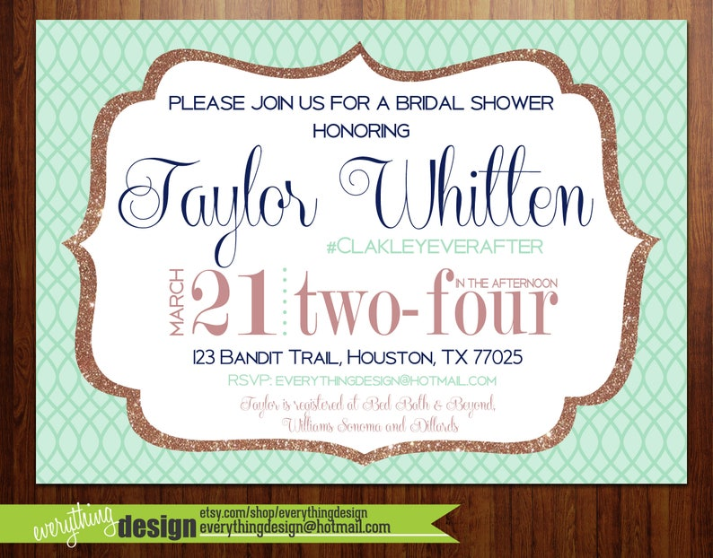 8409650754 Mint & Rose Gold Sparkle Invitation | Couples Shower | Wedding Shower |  Digital or Printed | Custom | Free Shipping