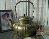 Gifts For Brides, Beautiful Antique Chinese Etched Brass Tea Pot, Etched Brass Chinese Teapot, Antique Brass Teapot