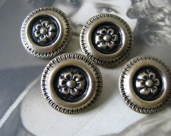 Wild Rose Buttons Shabby Flower Buttons Antique Sewing Notions Brass Floral Buttons Antique Brass Buttons 1930/'s Brass Buttons