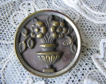 Repousse Stamped Pierced Button 34 Vintage LOCK /& KEY Metal Button