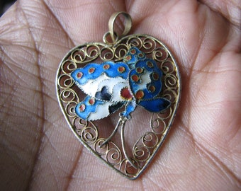 10pcs 10-20mm Chinese Cloisonne-blue butterfly charm pendant beads,filigree connector,DIY