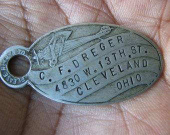 Antique Registry Tag Return Tag Return Address Tag Antique Key Fob Metal Masonic Shield Fob Vintage Registry Tag