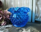 Vintage Fenton Vase, Vintage Rose Bowl, Fenton Hobnail Vase, Blue Hobnail Vase, Blue Rose Bowl Vase, Gifts For Brides, Wedding Gifts
