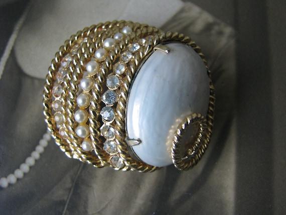 Vintage Corocraft Brooch, Vintage Pearl Brooch, V… - image 7