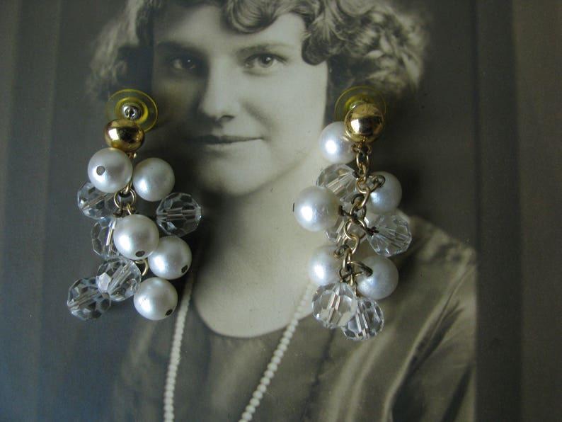 Vintage Crystal /& Glass Faux Pearl Beaded Cluster Earrings Bridal Earrings 1960/'s Beaded Cluster Earrings Vintage Wedding Earrings