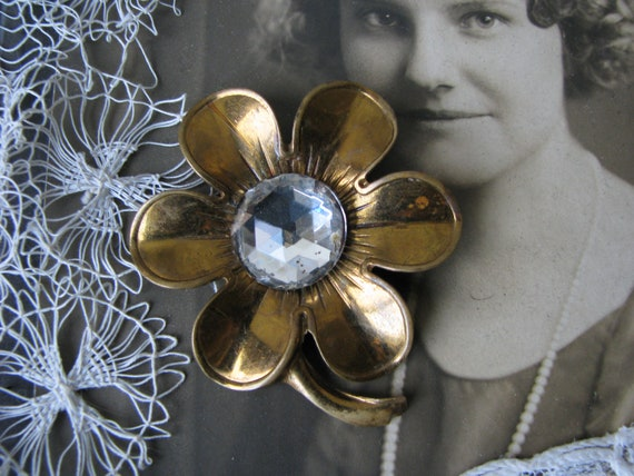 Art Deco Paste Brooch, Art Deco Flower Brooch, 193