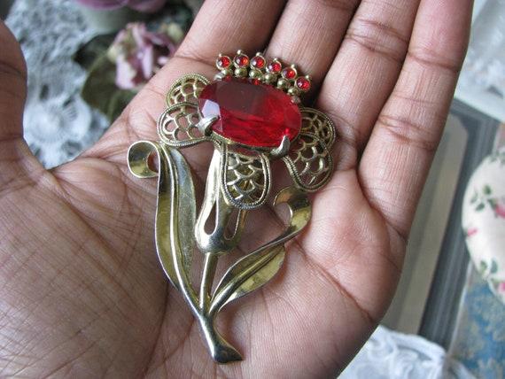 Vintage Flower Brooch, Red Paste Brooch, Art Deco