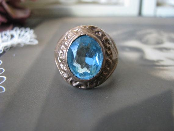Victorian Men's Ring, Antique Blue Paste Ring, Ant