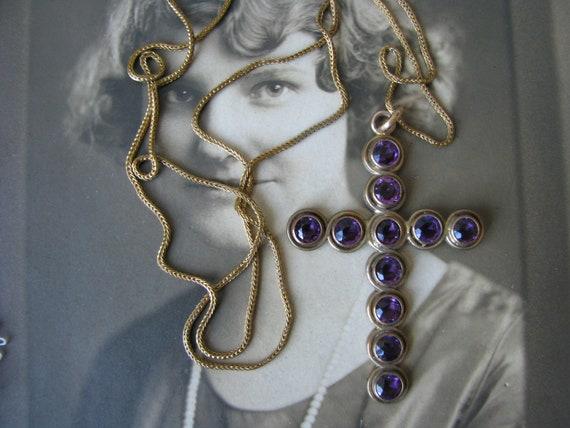 Antique Paste Cross, Victorian Cross Necklace, Gol