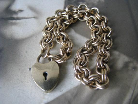Victorian Padlock Bracelet, Antique Heart Padlock
