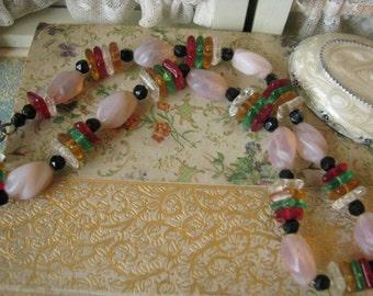 Fabulous Vintage Art Deco Colorful Czech Glass Beads Choker Pink Opal Glass Beads Jet Beads