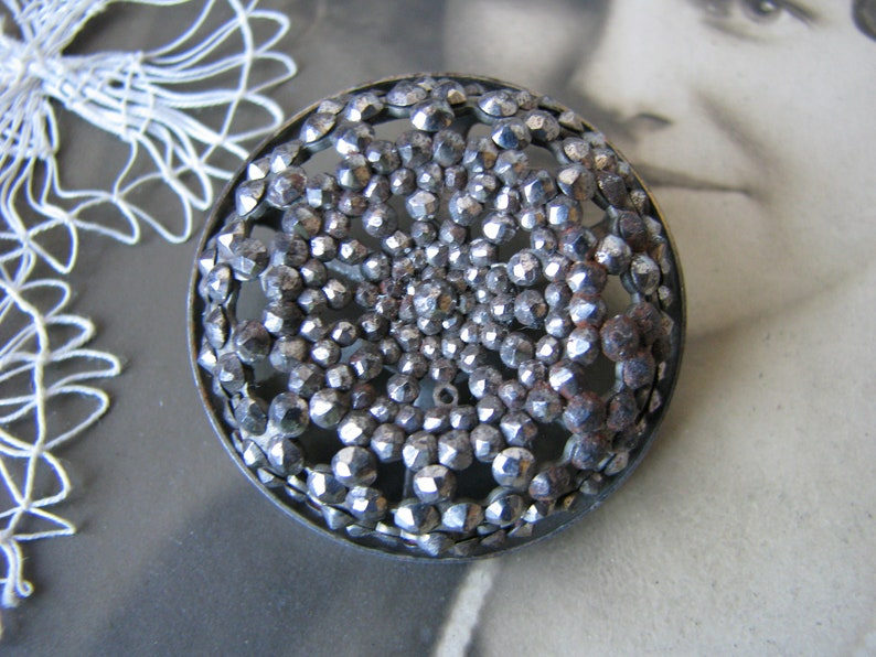 Antique Steel Button Antique Cut Steel Button Cut Steel Swirl Button Victorian Cut Steel Button Cut Steel Studded Button