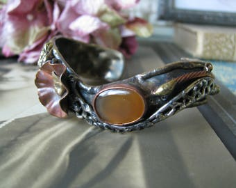 Handcrafted Mixed Metals Agate Cuff Bracelet, Altered Art Cuff Bracelet, Polished Agate Cuff Bracelet