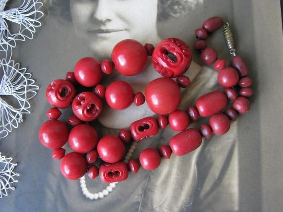 Vintage Bakelite Bead Necklace, Red Bakelite Neckl