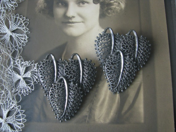 1930's Art Deco Filigree Leaf Dress Clips, Art Dec