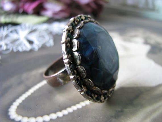 Vintage Copper Ring, Vintage Rhinestone Ring, Vin… - image 4