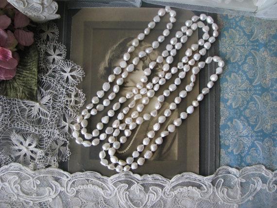 66'' Baroque Pearl Necklace, Opera Length Pearl Ne