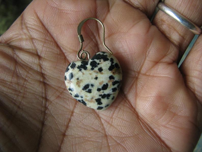 Vintage Heart Shaped Spotted Jasper Stone Drop Earrings Jasper Stone Heart Earrings Spotted Jasper Earrings