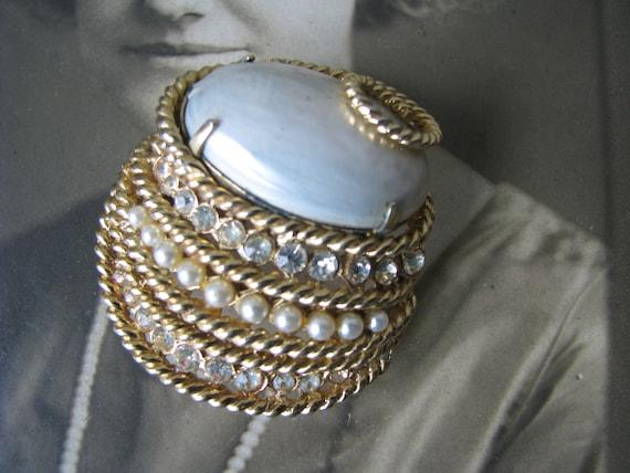 Vintage Corocraft Brooch, Vintage Pearl Brooch, V… - image 1