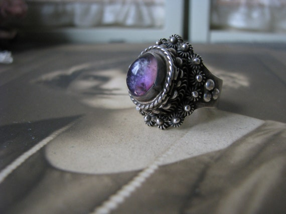 Vintage Amethyst Poison Ring, Sterling Silver Pois