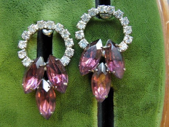 1980's Rhinestone Pierced Earrings, Large Rhinesto
