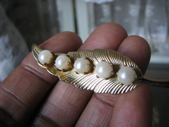Vintage Pearl Brooch, Cultured Pearl Brooch, Vint… - image 2
