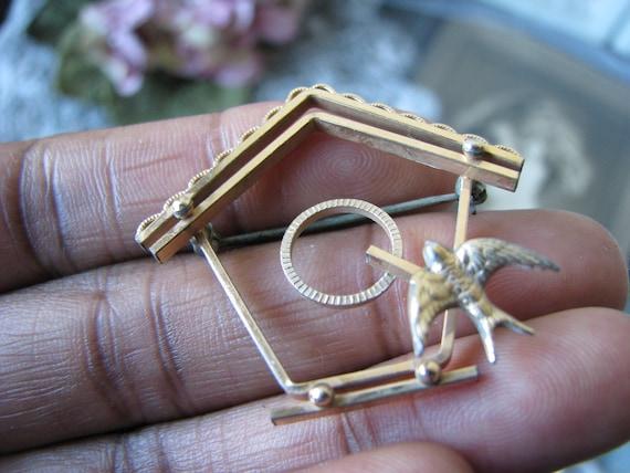 Vintage Birdhouse Brooch, Vintage Sweetheart Broo… - image 3
