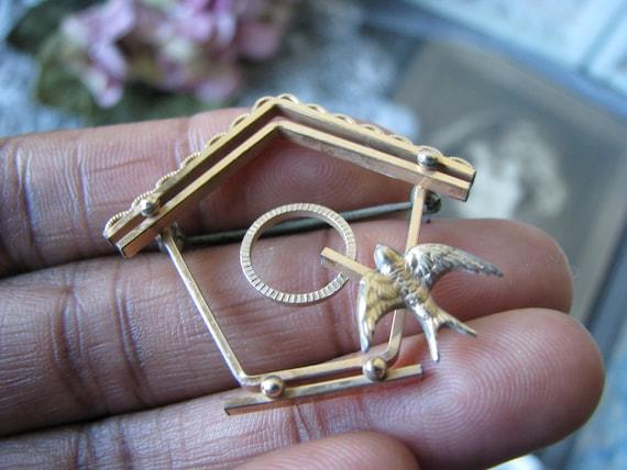 Vintage Birdhouse Brooch, Vintage Sweetheart Broo… - image 6