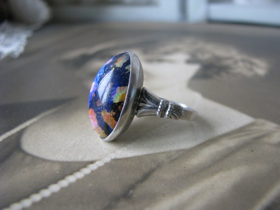 Art Deco Silver Pinkie Ring, Art Deco Art Glass Ri