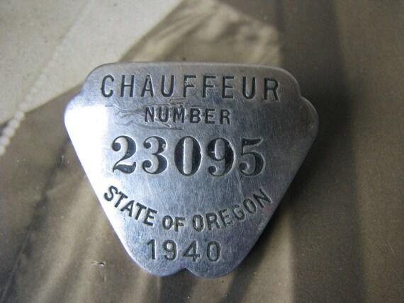 Antique Chauffeur Badge, Oregon Chauffeur Badge, C