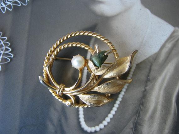 Vintage Jade Brooch, Sarah Coventry Brooch, Vinta… - image 3