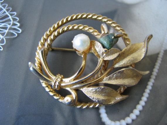 Vintage Jade Brooch, Sarah Coventry Brooch, Vinta… - image 5