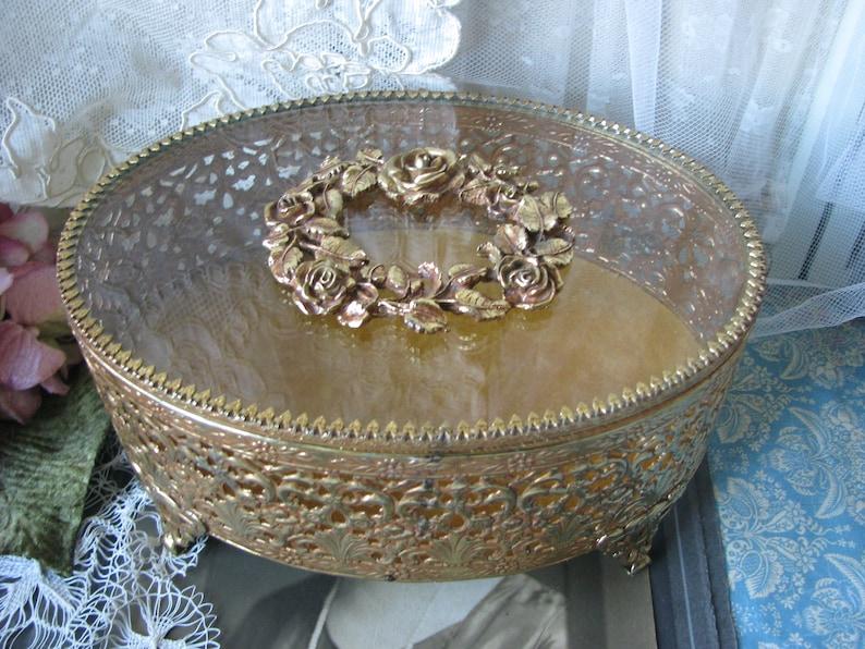 Filigree Jewelry Box Vintage Jewelry Chest Bridal Box, Large Jewelry Chest Hollywood Regency Jewelry Box Wedding Box