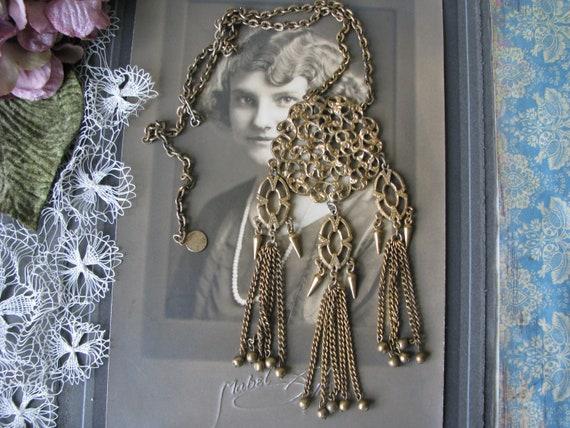 Art Deco Filigree Necklace, Art Deco Tassel Neckla