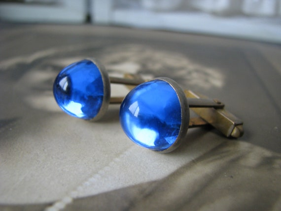 Art Deco Cuff Links, Blue Paste Cuff Links, Faux S