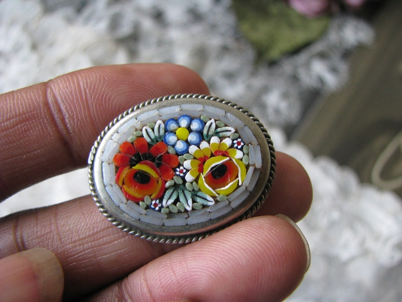 d1d6511c4 Antique Micro Mosaic Brooch Italian Glass Tile Brooch | Etsy