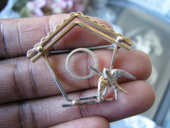 Vintage Birdhouse Brooch, Vintage Sweetheart Broo… - image 1